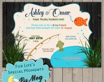 Fishing Baby Shower Invitation - Printable file - It's a Boy Baby Shower Invite - Outdoors Camping Fishing Baby Shower Invite
