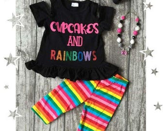 Girls Cupcakes and Rainbows outfit