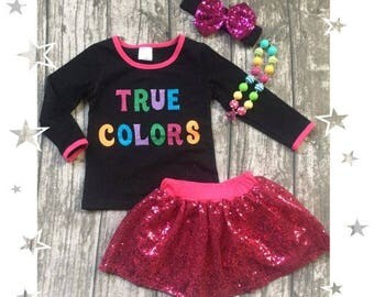 Girls True Colors Sequin Skirt set Outfit   FREE Accessories