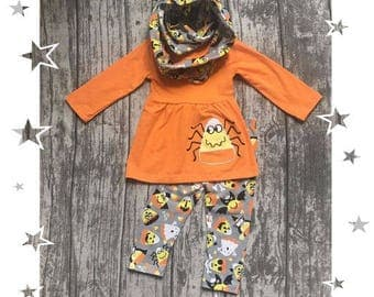 Girls Candy Corn Spider 3pc Scarf Outfit