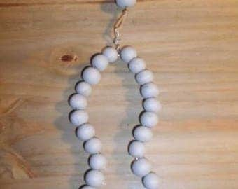 FISH HANG SOLID OLD DECO SEA BLUE GRAY WOODEN BEADS