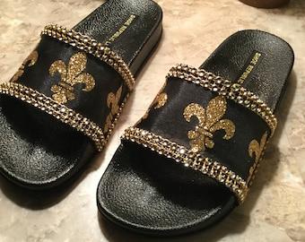 Custom Rhinestone  Fleur de Lis New Orleans Saints Slide Sandals