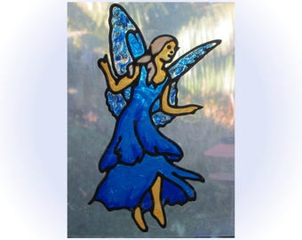 Blue Fairy Glassyart Stained Glass window cling