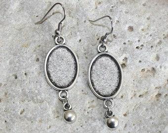 Silver medium oval cabochon earrings