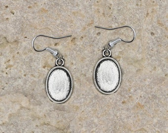 support cabochon 10 X 14 mm hoop earrings