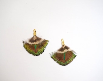 2 cm clip green Peacock feather pendants plated Gold × 2