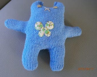 Soft Blue knit by hand