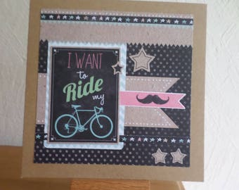 made with several collage card with bicycle
