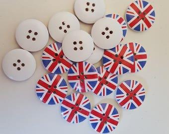 set of 10 wooden United Kingdom flag buttons