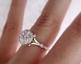 Bezel GENUINE Diamond Engagement Ring VS2- F 14K & Platinum 2.06 Ct
