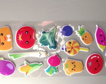 15 Stickers fruits and vegetables.