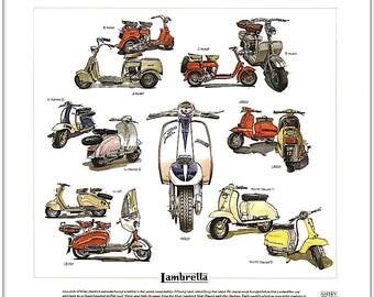 LAMBRETTA - Fine Art Print - TV175 SX200 A B C & D model scooters illustrated