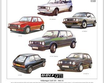 Volkswagen Golf GTi Mk1/2 - Fine Art Print (Cabriolet Campaign 8V & 16V illustrated)