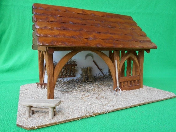 cr che de no l en bois rebecca lumineuse toit. Black Bedroom Furniture Sets. Home Design Ideas
