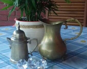 Two brass pots