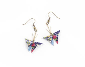 Jewelry origami butterflies earrings with blue Japanese paper Navy with multicolored flowers