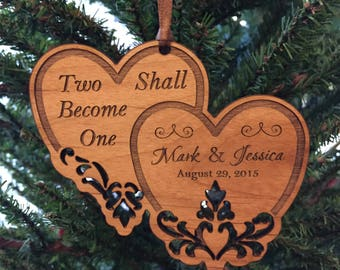 "Personalized Wedding Ornament, ""Two shall become one"" Hanging, Ornament"
