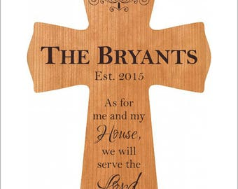 """Family Cross, Personalized Joshua 24:15 Cross, Hanging Cross, """"As for me and my house, we will serve the Lord."""""""