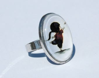 Ring cabochon - Image girl with bird