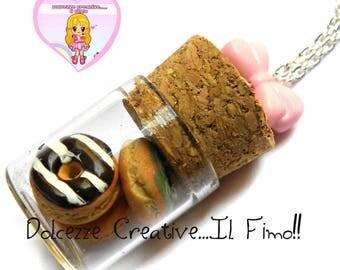 chocolate iced donut - Strawberry Donuts pot necklace - kawaii gift idea