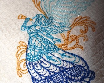 Large tea towel embroidered with an Angel