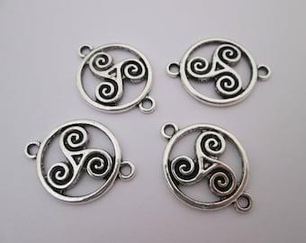 4 connecteur cercle triskel 28 x 20 mm en métal argenté