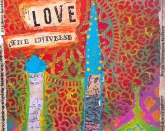 Print, 'Love the universe' Bohemian Art  Islamic Arabesque Whimsical Happy Minarets Uplifting Bright Colourful art Vibrant Texture Ethnic