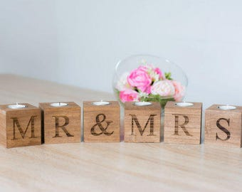 Mr & Mrs candle Holders / wedding - engagement