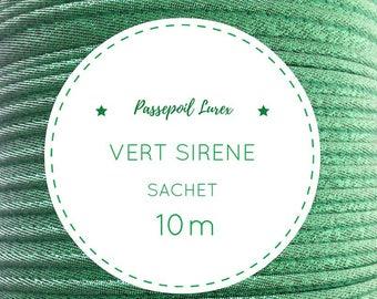 10 m Mermaid green lurex piping bag