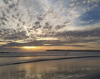 Sunset on Coronado Island, California Photo Art Print, Beach Photography, Ocean, Clouds, Sky and Water, Wall Art