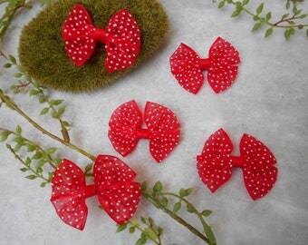 5 bows - red - dot 5 cm 4 cm