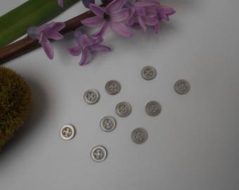 10 buttons grey 10mm