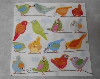 Bird themed paper napkin - size 33cm / 33cm