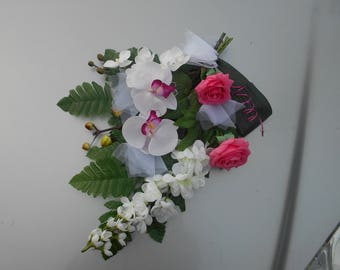Suction Cup floral white and fuchsia - wedding car decoration