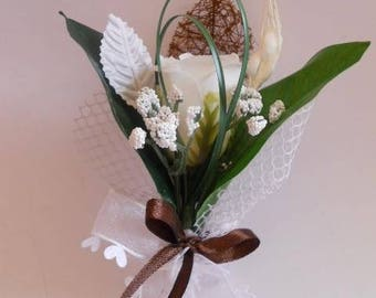 Chocolate and white wedding boutonniere