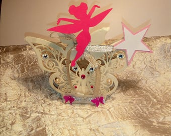 """Box has sweets Butterfly sold by 30 for baptism wedding Fuchsia / Silver """"sold vacuum without dragees"""""""
