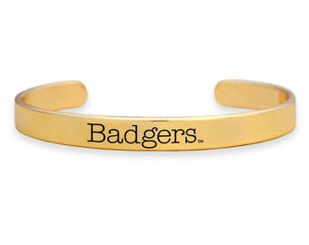 Wisconsin Badgers Gold Cuff Bracelet