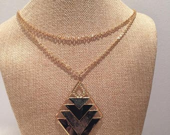 Double gold chain black charm necklace