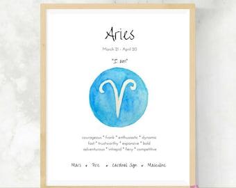Aries | Astrology Gift | Art Print | Zodiac Signs | Bestfriend Gift  | DIY Wall Art | Aries Gift | Horoscopes