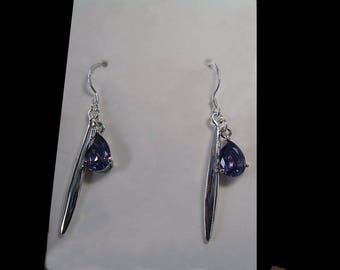 """Amethyst faceted drop silver dagger"" earrings"