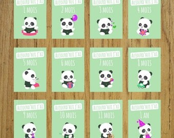 Cards mint panda steps, month after month, birthday gift