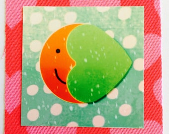 New baby greetings card, Over the Moon (green spot pink frame)