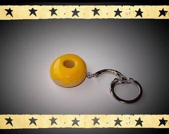 Donuts yellow glaze on keychain