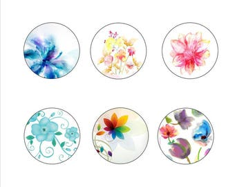 "25mm, 20mm, 14mm, 12mm, Digital Images for hobby ""Flowers 6"""