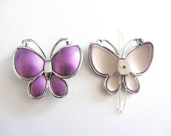 1 Pearl, connector, between two Purple Butterfly