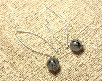 Stone - 10mm Tourmalated Quartz and 925 Sterling Silver earrings