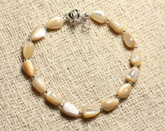 925 sterling silver and Pearl drops 9x6mm iridescent Beige bracelet
