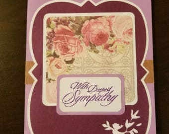 Handmade original scrapbook greeting card. With Deepest Sympathy. Condolence card. Grief and mourning