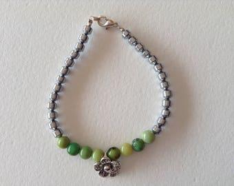 Chrysoprase silver hematite stone bracelet
