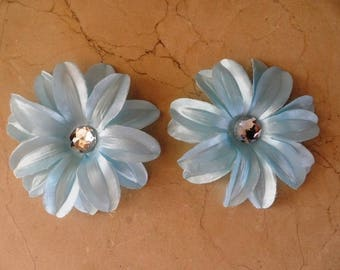 set of 2 appliques flowers Blue 12cm